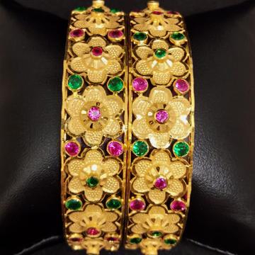 916 Gold Rajwadi Coloured Stone Bangles