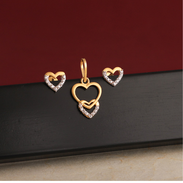 916 gold cz  heart design pendant set