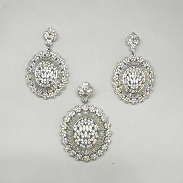 925 Sterling Silver AD Diamond Pendant Set