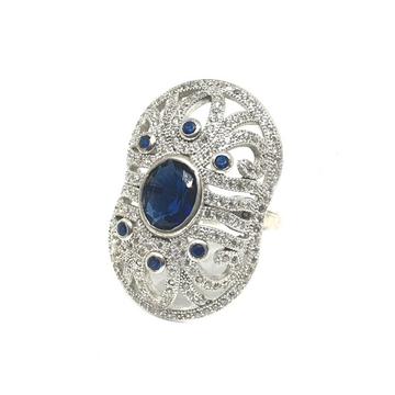 925 Sterling Silver Dark Blue Stone Ring MGA - LRS...