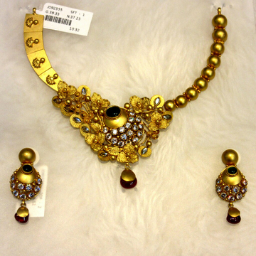 22k Hallmark Jadtar Antique Vine Design Necklace S... by