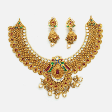 916 Gold Antique Wedding Necklace Set RHJ-4626