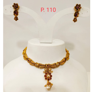 Antique Gold polish Necklace set with Red(rubby) stone 1318