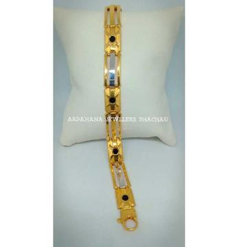 22KT Gold Indian Black Stone Gents Bracelet
