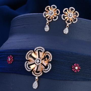 18 carat rose gold diamond ladies necklace RH-LN66...