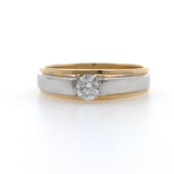 18kt rose gold solitaire band diamond ring for gen...