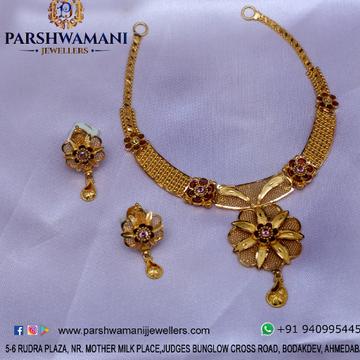 22kt Gold Flower Design Necklace set for Women