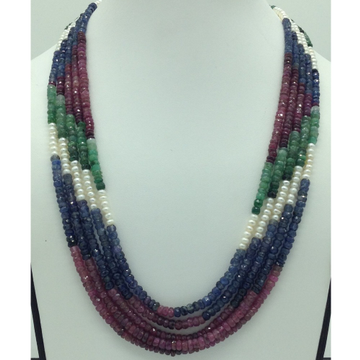 Freshwater WhitePearls with Stones 5Layers Rainbow Necklace JPM0369