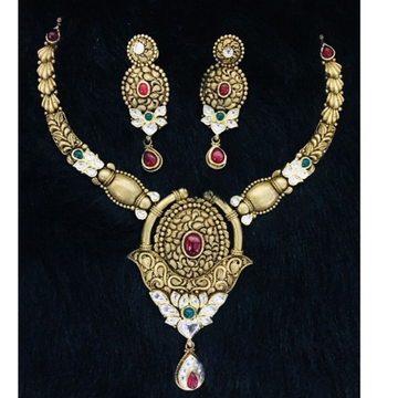916 Gold Antique Bridal Necklace Set Nk0001