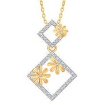 22kt, 916 Hm, Yellow Gold floral with square Pendant Jkp012.