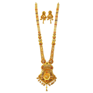 22kt gold kalkatti designer necklace with earrings mga - gls066