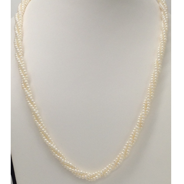 Fresh water white seed pearls necklace 3 layers