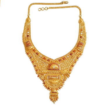 22k gold kalkatti rajwadi necklace mga - gn071
