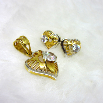 Heart Shape Single Diamond Pendent Set