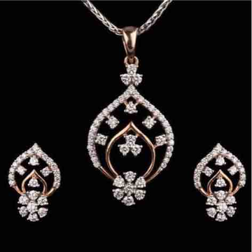 18KT Flower Design Antique Real Diamond Pendant Set
