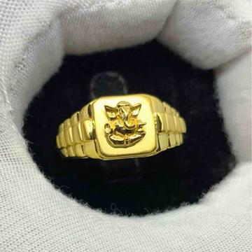 Fine emboss ganeshji ring by Kanishq Jewels