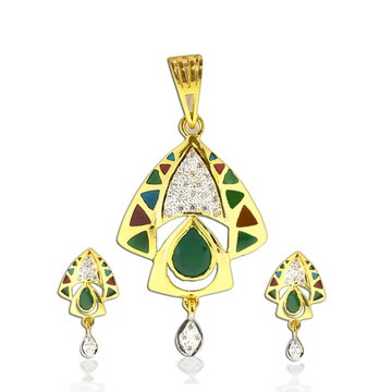 22KT Gold Colorful Stone Pendant Set SO-PS001