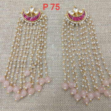 Long Pearl Earrings With Peach Color Beads