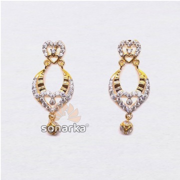 22kt Gold Heart Shape CZ Diamond Earring