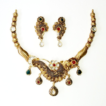 916 gold antique necklace set mga - gn013