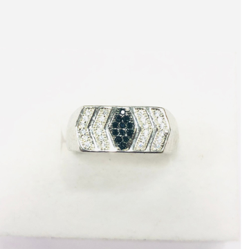 925 silver ring with black and white diamond ring for men