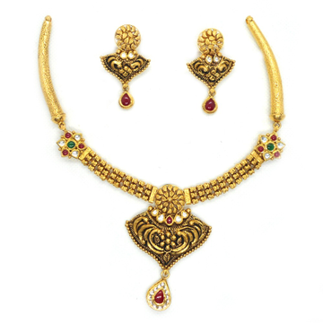 916 Gold Antique Bridal Necklace Set RHJ-3766
