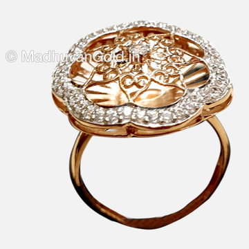 18KT CZ Flower Shaped Rose Gold Ladies Ring