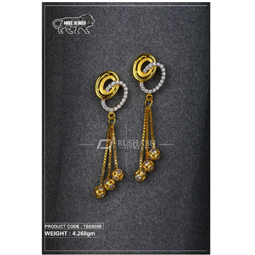 18 Carat Gold Ladies 3 step tops Earrings tsg0008 by