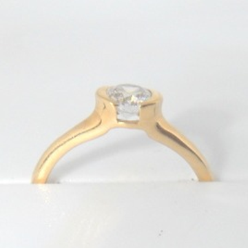 18KT Yellow Gold pain Soliter diamound daily ware Ring for ladies LRG0407