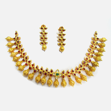 22KT Gold Antique Bridal Necklace Set RHJ-4759