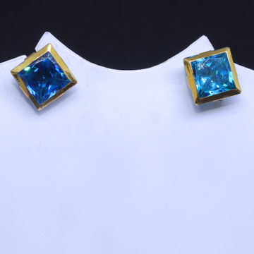 18KT Casualware Squire blue Colour stone earring for unisex BTG0242