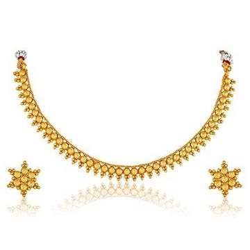 22kt, 916 Hall-Marked, Yellow Gold light weight balls plain Design Necklace For Women Jkn025