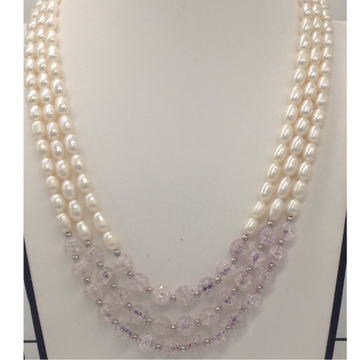 Freshwater white oval pearls 3 layers necklace with white semi precious and jaco balls