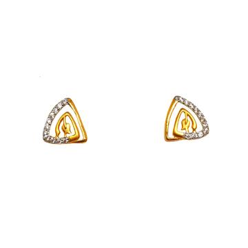 22K Gold Triangle Shape Designer Earrings MGA - BT...