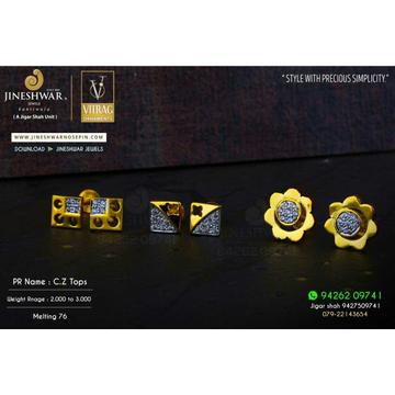 18kt Highpolish Fancy Cz Gold Ladies Tops ATG -0319