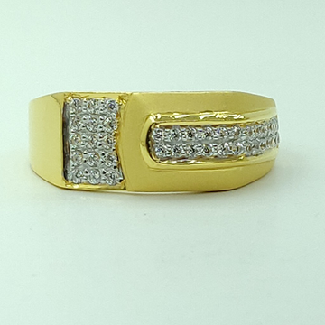 22kt yellow gold cz fancy light weight gents ring by Shree Sumangal Jewellers
