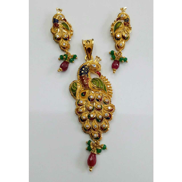 22KT Designer Gold Ladies Peacock Pendant Set