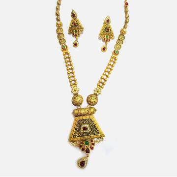 916 Gold Antique Bridal Long Necklace Set RHJ-4637