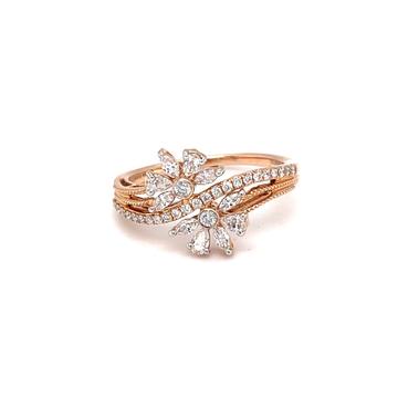 Dual flower contemporary diamond ring with hallmar...