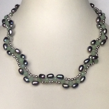 Freshwater grey oval pearls necklace with green cz...