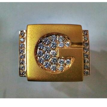 22Kt Gold close setting G initial Gents ring
