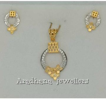 916 Gold Designer Diamond Pendant Set