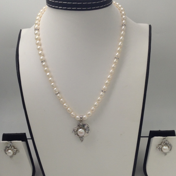 White CZ And Pearls PendentSet With OvalPearls Mala JPS0041