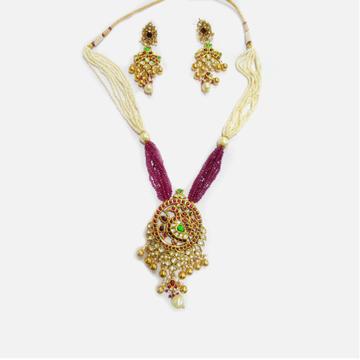 22KT Gold Antique Wedding Long Necklace Set RHJ-5006