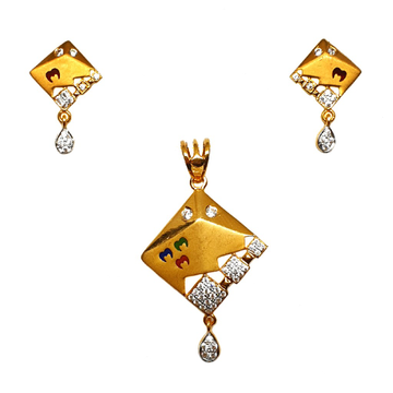 22K Gold Square Shaped Meenakari Pendant Set MGA - PTG0131