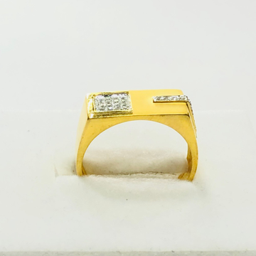 22kt, 916 hm, yellow gold matte with diamonds ring for men jkr223