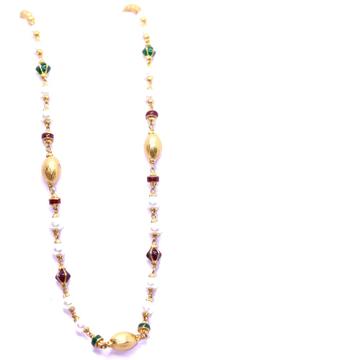 916 / 22KT Gold Delicate White Moti Mala With colour mina For ladies CHG0304
