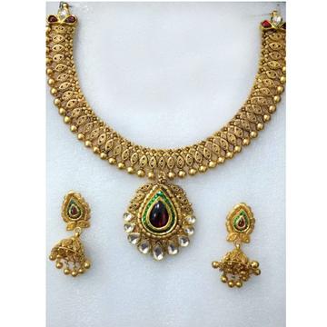 916 Antique Gold Choker Necklace Set-014