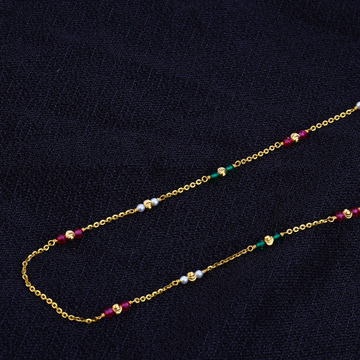 Ladies 916 Gold Designer Single line Moti Mala -AC67