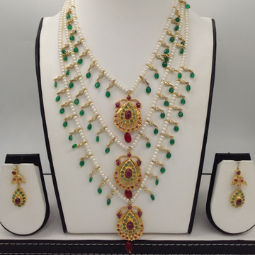 Ruby And Emerald Jugni Phalli Pendent 3 Line Haar Set With 3 Lines Flat Pearls Mala JPS0496